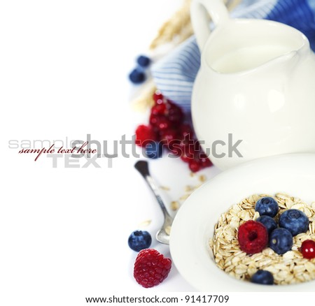 Granola with fresh berries and milk (with sample text)