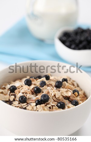 Granola with fresh wild blueberries and milk. Shallow DOF