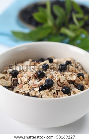 Granola with fresh wild blueberries. Shallow DOF