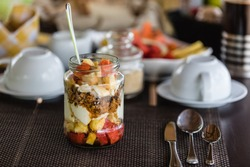 Granola with tropical fruits for the breakfast on srilanka