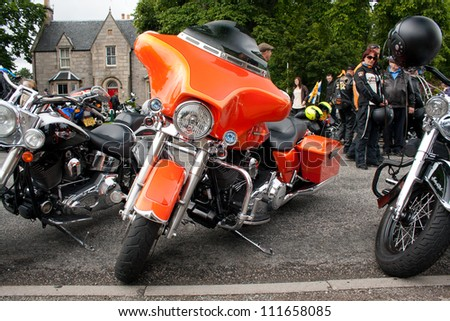 "GRANTOWN ON SPEY, SCOTLAND - AUGUST 25: Harley Davidson on display in the annual ""Thunder in the Glens"" event on August 25, 2012 in Grantown On Spey, Scotland"