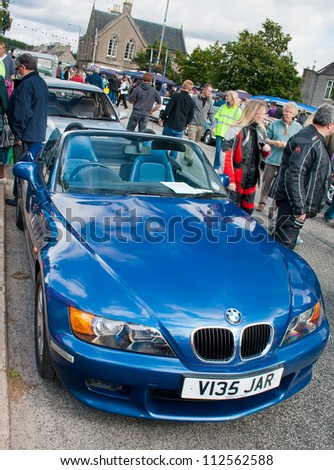GRANTOWN ON SPEY, SCOTLAND - SEPTEMBER 2: BMW Z3 on display in the annual Motor Mania car show on September 2, 2012 in Grantown On Spey, Scotland