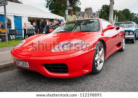 GRANTOWN ON SPEY, SCOTLAND - SEPTEMBER 2: Ferrari 360 on display in the annual Motor Mania car show on September 2, 2012 in Grantown On Spey, Scotland