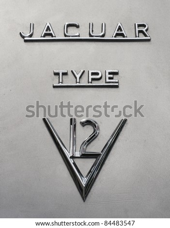 GRANTOWN ON SPEY, SCOTLAND - SEPTEMBER 4: Jaguar Cars typeface on display in the annual Motor Mania car show on September 4, 2011 in Grantown On Spey, Scotland