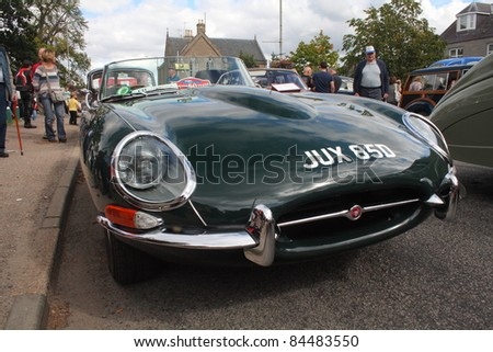 GRANTOWN ON SPEY, SCOTLAND - SEPTEMBER 4: Jaguar E Type on display in the annual Motor Mania car show on September 4, 2011 in Grantown On Spey, Scotland