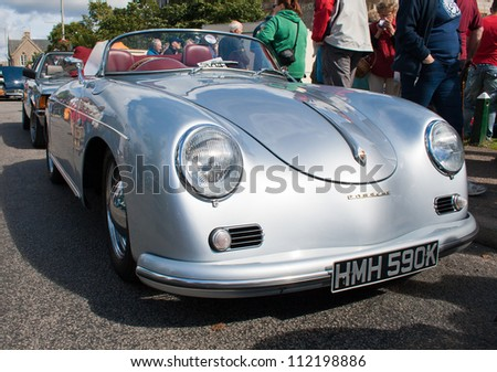 GRANTOWN ON SPEY, SCOTLAND - SEPTEMBER 2: Porsche 356 Speedster on display in the annual Motor Mania car show on September 2, 2012 in Grantown On Spey, Scotland