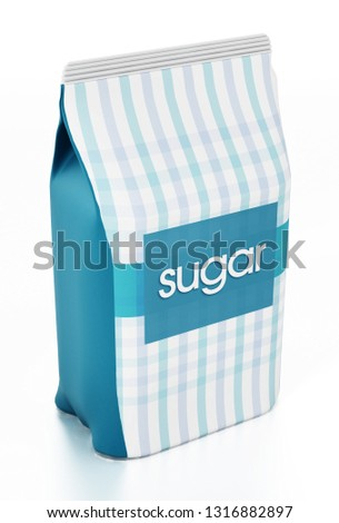 Granulated sugar package isolated on white background. 3D illustration.