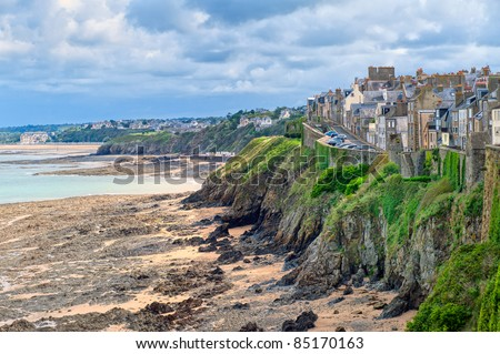 Granville beach in Normandy, France - stock photo