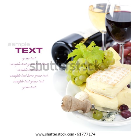 Grape and cheese with a bottle and glasses of red and white wine with sample text