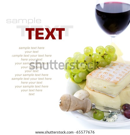 Grape and cheese with  glass of red and wine (with sample text)