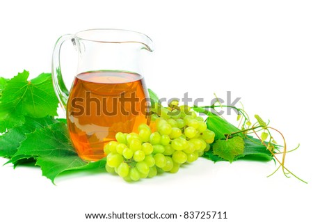grape juice and a bunch of grapes isolated on white background