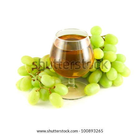 Grape Juice In Wine Glass Surrounded With Grapes Isolated ...