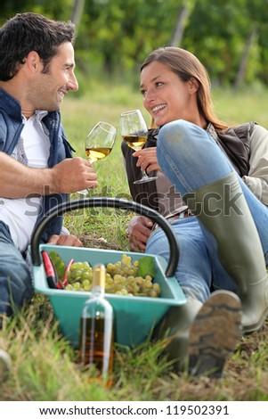 Grape pickers taking a break