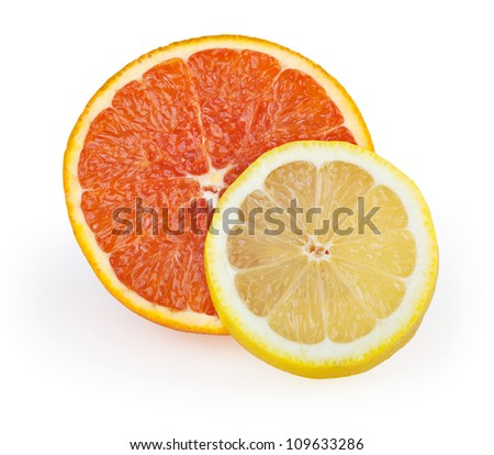 Grapefruit and lemon isolated on white with clipping path
