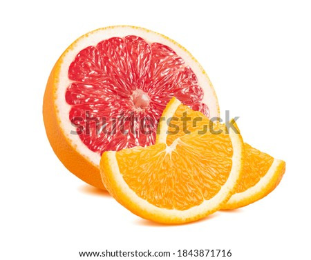 Grapefruit and orange slices isolated on white background. Package design element with clipping path Zdjęcia stock ©