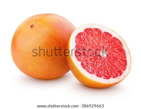 Grapefruit citrus fruit with half isolated on white with clipping path ストックフォト ©