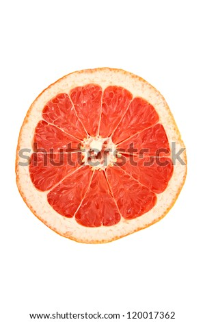 Grapefruit cut top view isolated on white background #120017362