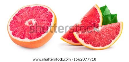 Grapefruit half isolated on white background close up