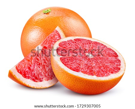 Grapefruit isolated. Pink grapefruit whole, half, slice on white. Grapefruit slices with zest isolate. With clipping path. Full depth of field.