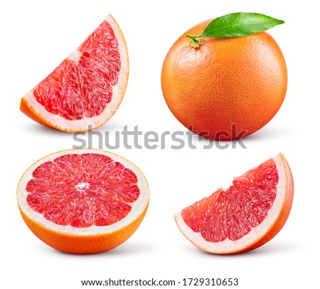 Grapefruit isolated. Pink grapefruit with leaf. Grapefruit whole, slice, half on white. Grapefruit set isolate. With clipping path. Full depth of field.