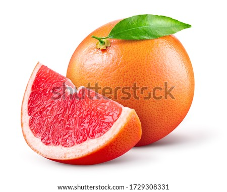 Grapefruit isolated. Pink grapefruit with leaf. Whole grapefruit with slice on white. Grapefruit slices with zest isolate. With clipping path. Full depth of field.