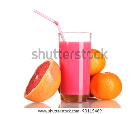 Grapefruit juice and fresh grapefruit isolated on white