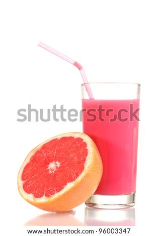 Grapefruit juice and fresh grapefruit isolated on white