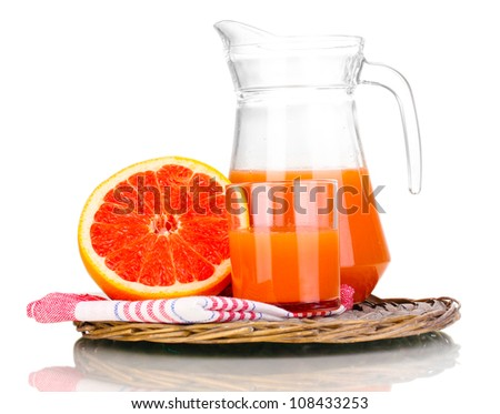 Grapefruit juice and grapefruit isolated on white - stock photo