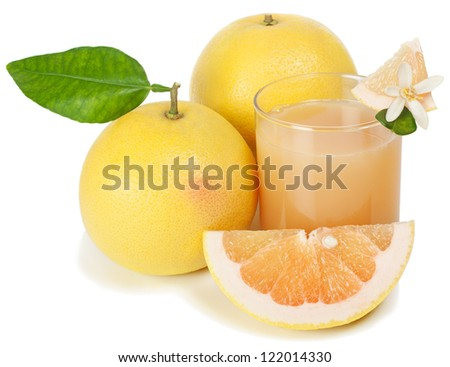 grapefruit  juice freshly squeezed from fresh fruits    isolated on a white background