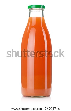 Grapefruit juice glass bottle. Isolated on white background