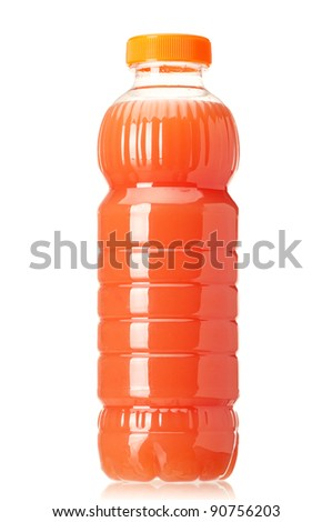 Grapefruit juice in plastic bottle on white background