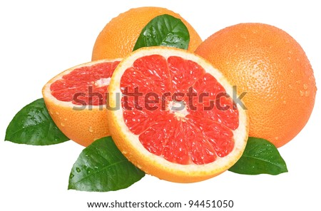 Grapefruit on a white background.