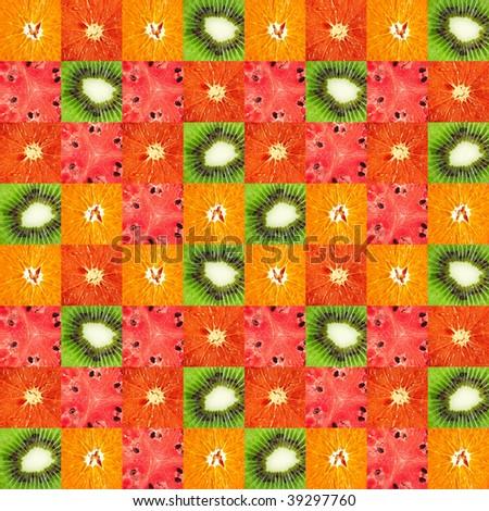 Grapefruit orange kiwi watermelon close-up background