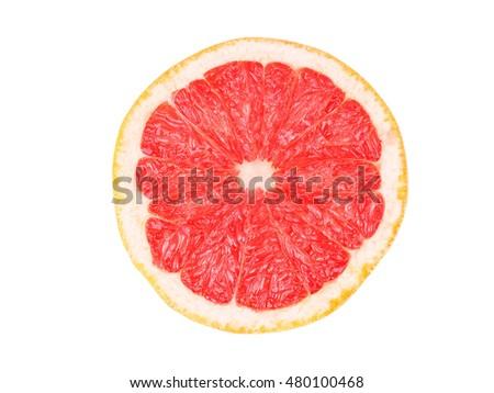 Grapefruit slice isolated on white background #480100468