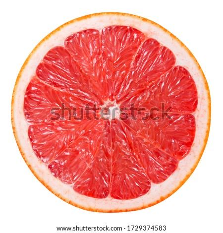Grapefruit slice isolated. Pink grapefruit round slice on white. Grapefruit pink. Flat lay. Top view. With clipping path.