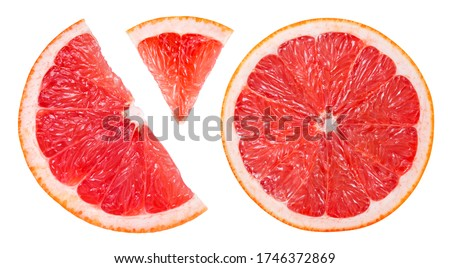 Grapefruit slice isolated. Pink grapefruit slice on white. Grapefruit pink. Flat lay. Top view. With clipping path.