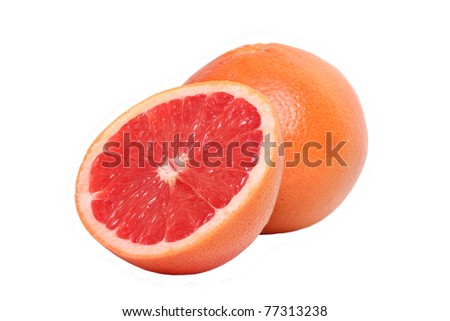 grapefruit with half isolated on the white background