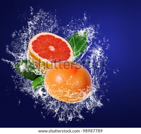 Grapefruits with leaves in water drops on the dark blue background