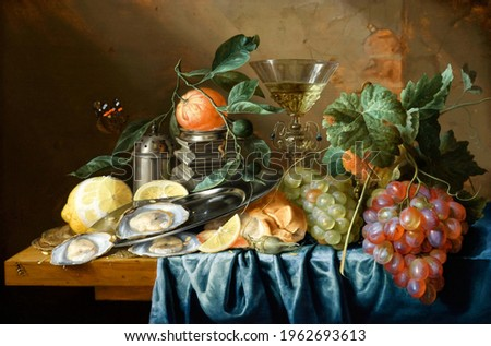 Grapes and antique vase . Still life . In the style of the ancient Dutch masters. Painting oil canvas 2021. Foto stock ©