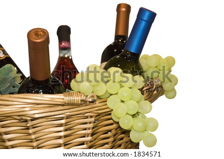 Grapes and wine in basket(on white)