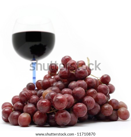 Grapes Close-up and Wine Glass