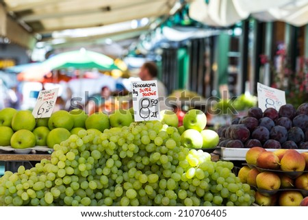 Grapes for sale in a basket on a open air market stall Grapes for sale in a basket on a open air market stall in Poland.