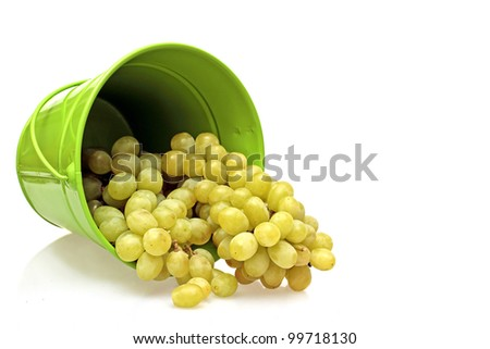 Grapes in a green bucket