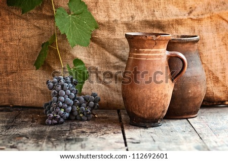 Grapes on wood table