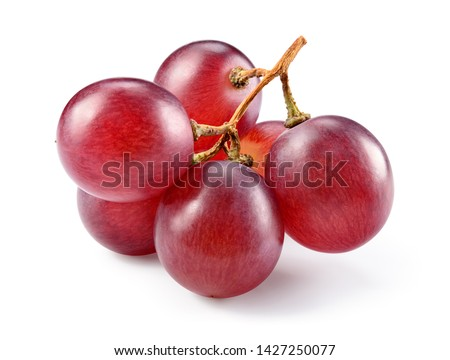 Grapes. Red grape. Grape branch isolated on white. With clipping path. Full depth of field.