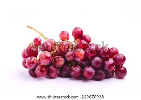 grapes rosada red globe on white background