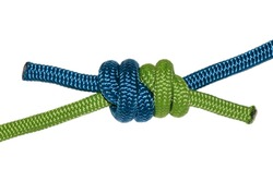 Grapevine knot, blue and green rope. Isolated on white background.