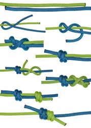 Grapevine knot tying scheme. Blue and green ropes. Isolated on white background.