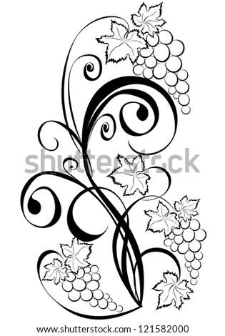 Grapevine. Wine black and white design elements.