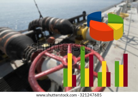 graph business with rig gas oil blur background